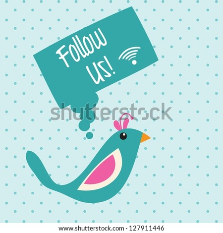 Follow Us, Icon with little bird. Vector illustration