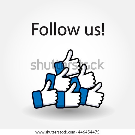 Follow us isolated counter notification  Vector Logo, JPG, JPEG, EPS. Icon Button.Flat Social Media Sign