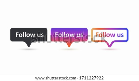 Follow us set of color label. Follow us buttons isolated on a white background. The concept of the social network. Vector illustration