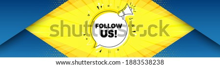Follow us symbol. Background with offer speech bubble. Special offer sign. Super offer. Best advertising coupon banner. Follow us badge shape message. Abstract yellow background. Vector