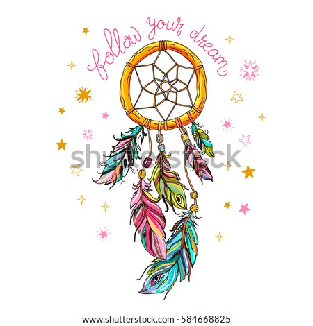 Follow your dreams inspirational message. Vector ethnic print design with dreamcatcher.