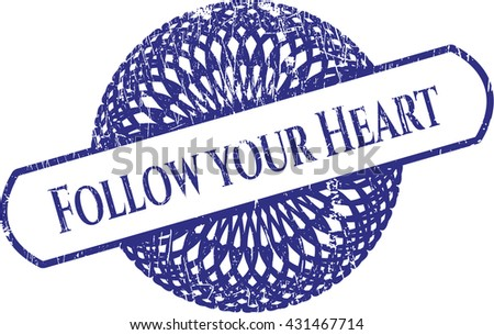 Follow your Heart rubber grunge texture stamp