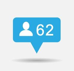 Follower isolated counter notification  Vector Logo, JPG, JPEG, EPS. Icon Button.Flat Social twitter Media Sign