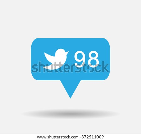 Follower isolated counter notification  Vector Logo, JPG, JPEG, EPS. Icon Button.Flat Social twitter Media Sign