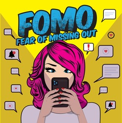 FOMO, fear of missing out concept. Pop art woman with cell phone. Speech Bubble Vector illustration.