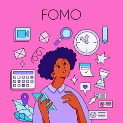 FOMO - Fear Of Missing Out concept. Young woman is holding phone, surrounded with social media symbols and alerts -geotags, hearts. The girl is surprised, in shock, confused. Vector