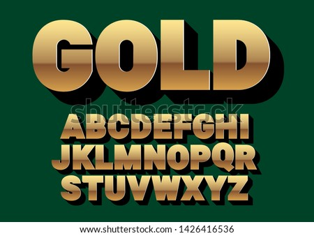 Font alphabet. Gold style, sanserif font with long shadow. Vector illustration #1426416536