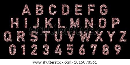 font alphabet of rose gold
