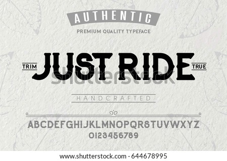 Font.Alphabet.Script.Typeface.Label. Just Ride typeface.For labels and different type designs