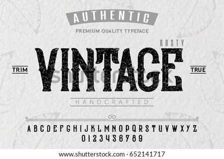 Font. Alphabet. Script. Typeface. Label.Vintage typeface. For labels and different type designs