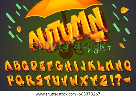 "Font ""autumn"". Vector set cartoon alphabet gold letters"