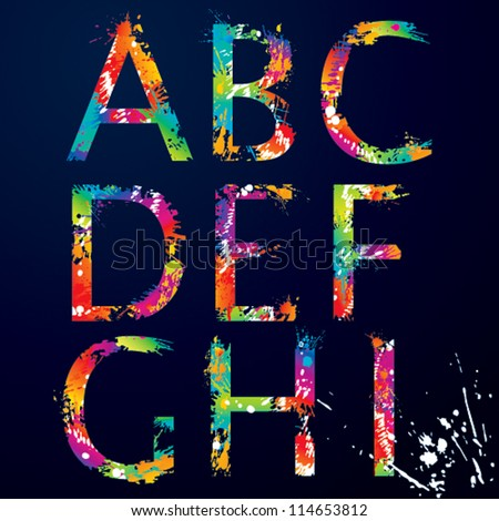 stock-vector-font-colorful-letters-with-drops-and-splashes-from-a-to-i-vector-illustration