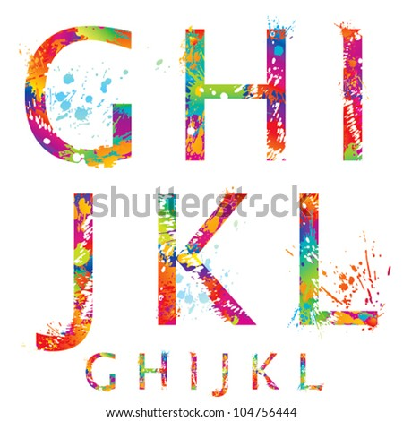 Font - Colorful letters with drops and splashes from G to L. Vector illustration.