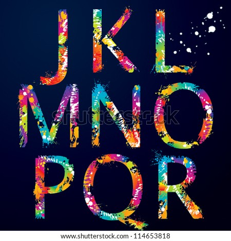 stock-vector-font-colorful-letters-with-drops-and-splashes-from-j-to-r-vector-illustration