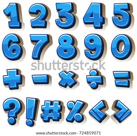 Font design for numbers and signs in blue illustration #724859071