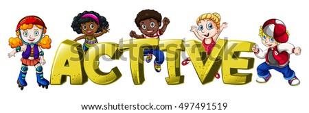Font design for word active illustration