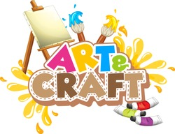Font design for word art and craft with paintbrushes and canvas illustration