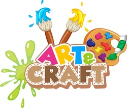Font design for word art and craft with paintbrushes and paints illustration