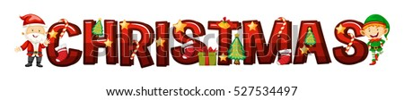 Font design for word christmas illustration