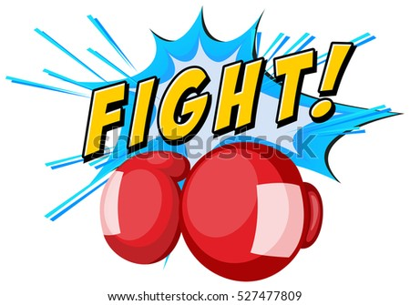 font design with boxing gloves