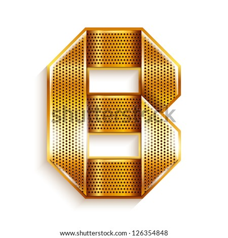 Font folded from a metallic gold perforated ribbon - Letter B. Vector illustration 10eps.