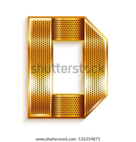 Font folded from a metallic gold perforated ribbon Letter D Vector illustration 10eps