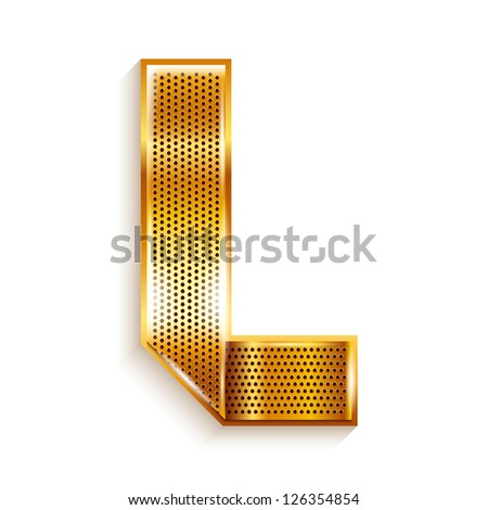 Font folded from a metallic gold perforated ribbon Letter L Vector illustration 10eps