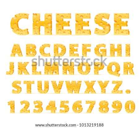 Font from cheese, food in the form of letters and numbers. Vector illustration