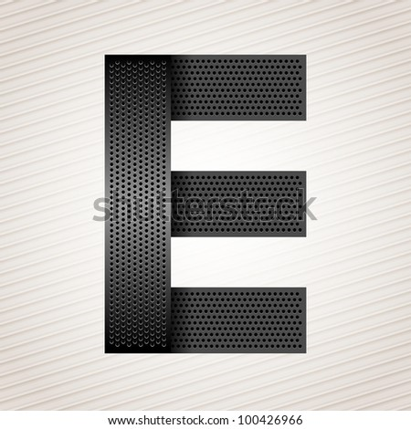 Font from folded metallic ribbon - Latin letter E. Vector 10eps
