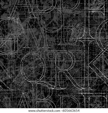 font grunge seamless pattern, vector illustration clip-art