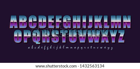 Font in vintage and retro style. Color gradient letters and stroke for a stylish 80's lettering. The main and auxiliary font. Vector alphabet.