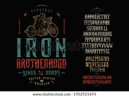Font Iron Brotherhood. Craft retro vintage typeface design. Graphic display alphabet. Fantasy type letters. Latin characters, numbers. Vector illustration. Old badge, label, logo template. Сток-фото ©