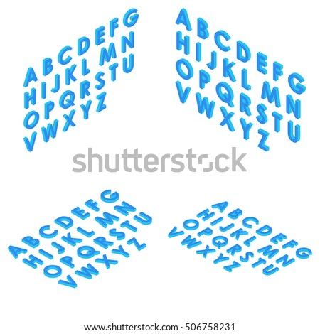 Font isometric set 3d vector illustration capital letters cartoon flat style blue clean isolated