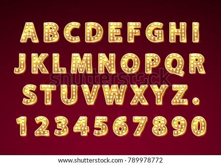font lamp symbol  gold letter