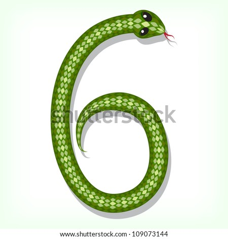 Font made from green snake. Digit 6