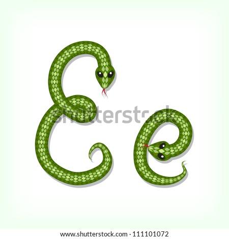 Font made from green snake. Letter E