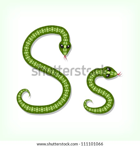 Font made from green snake. Letter S