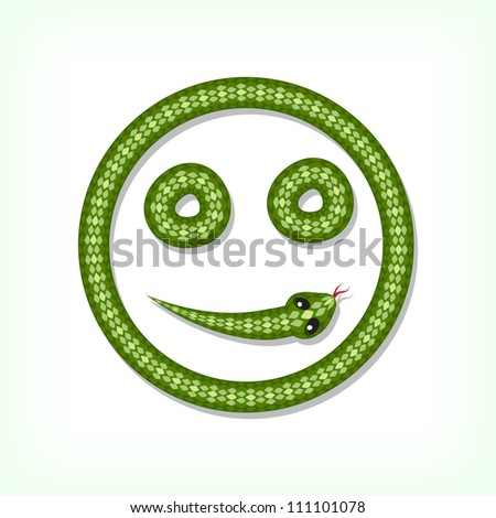 Font made from green snake. Smiley symbol