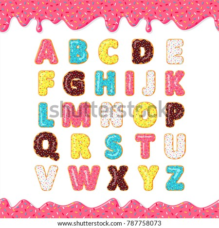 Font of donuts. Bakery sweet alphabet. Letters with pink, yellow, blue donut. Donut's glaze. Vector poster