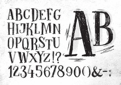 Font pencil vintage alphabet drawing in black color on dirty paper background.