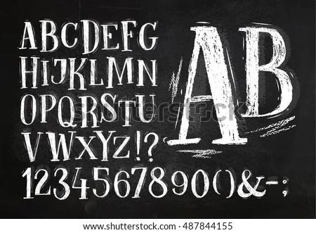 font pencil vintage alphabet