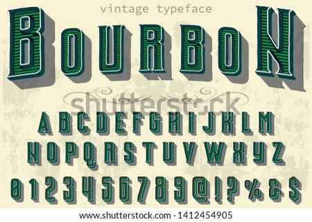 Font Script handcrafted handwritten vector label design old style.Shadow Effect.vintage Hand Drawn.Retro bourbon