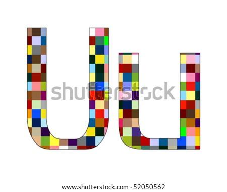 Font Set 1 Letter U Isolated on White