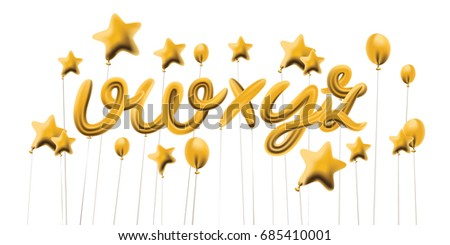 Font set with letters v, w, x, y, isolated on white. Metallic Gold ABC Balloons, golden letter alphabet. Birthday font. Realistic gold typeface for celebration, festival or birthday  decoration.