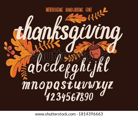 Font thanksgiving day. Typography alphabet with colorful autumn illustrations. Handwritten script for holiday party celebration and crafty design. Vector with hand-drawn lettering.