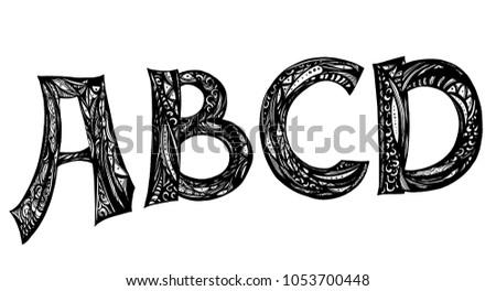 Font Typography Vector Illustration Set Doodle Calligraphic Letters A B C D