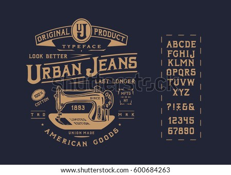 font urban jeans. craft vintage ...