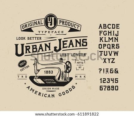 font urban jeans. craft vintage ...