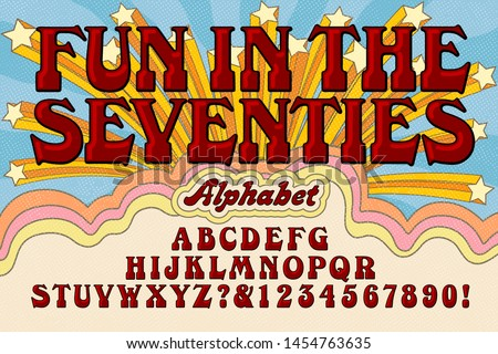 Font vector alphabet design; An early 1970s style cartoon like alphabet with a groovy retro hippie vibe.