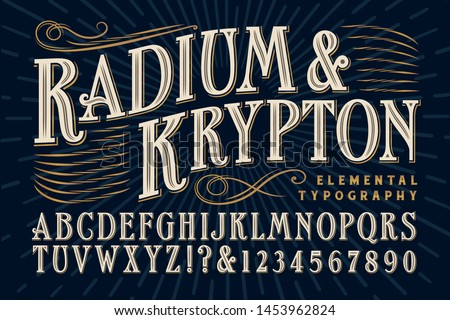 Font vector; An elegant serif alphabet that exudes old world refinement and luxury, and would be appropriate for product branding, alcohol bottles and custom packaging.